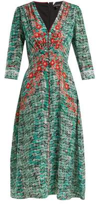 Saloni Eve Seaweed Printed Silk Crepe De Chine Dress - Womens - Green Print