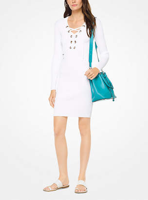 Michael Kors Lace-Up Ribbed Dress