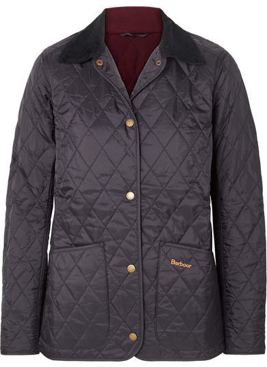 Annandale Corduroy-trimmed Quilted Shell Jacket - Navy