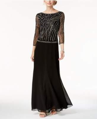 J Kara Beaded Sequin-Embellished Gown
