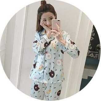 b9915cebaf Show-Show-Fashion Women Sexy Silk Satin Lingerie Set Long Sleeve Pyjama  Femme Cartoon