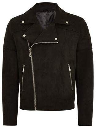 Topman Mens Black Faux Suede Biker Jacket