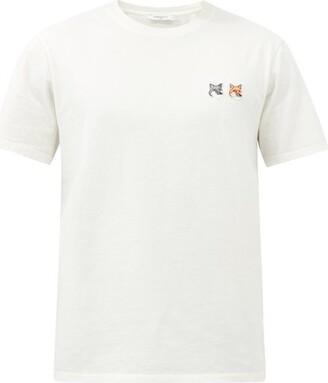 MAISON KITSUNÉ Double Fox Head Cotton Crew Neck T Shirt - Mens - Cream