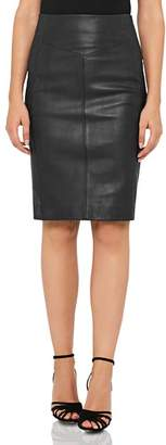 Reiss Megan Leather-Front Skirt