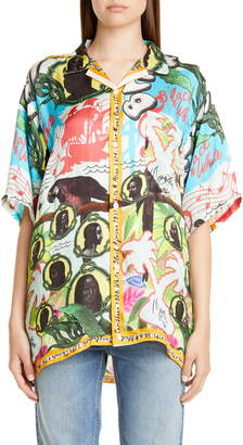 Martine Rose Tropical Print Short Sleeve Button-Up Shirt