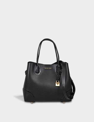 MICHAEL Michael Kors Mercer Gallery Medium Leather Satchel Bag in Black Pebbled Leather