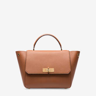 Bally B Turn Small Brown, Women's small grained calf leather top handle bag in tan