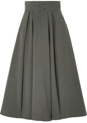 Tomas Maier Cotton-blend Poplin Midi Skirt - Green