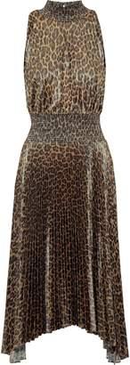 A.L.C. Pleated Leopard-print Satin Midi Dress