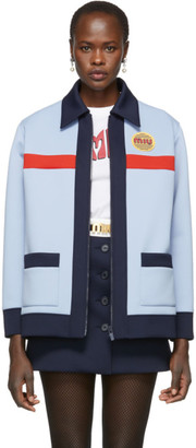 Miu Miu Blue Techno Jersey Jacket