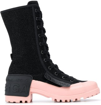 Marco De Vincenzo x Superga rubber patch lace-up boots