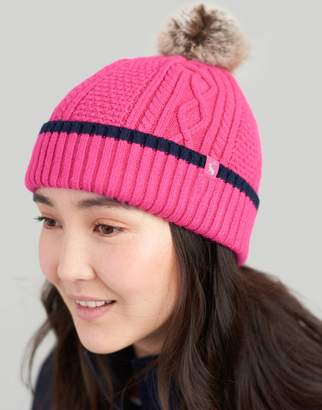 Joules Pink Anya Bobble Hat Size One Size