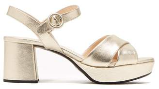 Prada Platform Metallic Leather Sandals - Womens - Gold