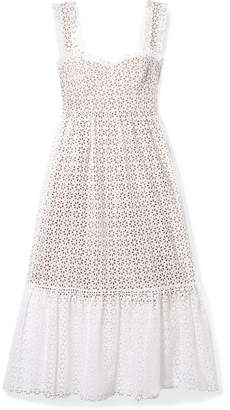 Michael Kors Broderie Anglaise Cotton Midi Dress - White