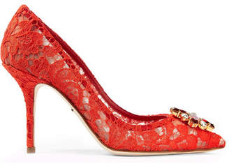Dolce & Gabbana Crystal-embellished Corded Lace Pumps - Red
