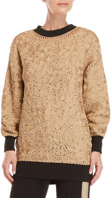 Les Copains Soutache-Trimmed Tunic Sweater