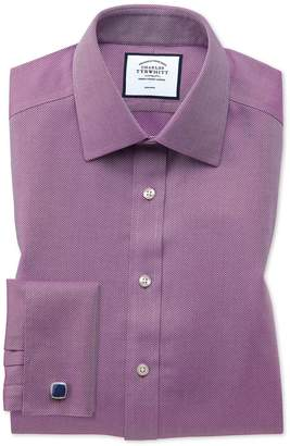 Charles Tyrwhitt Extra Slim Fit Non-Iron Berry Arrow Weave Cotton Dress Shirt Single Cuff Size 15/35