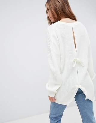 PrettyLittleThing Open Back Tie Detail Sweater