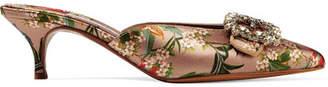 Tabitha Simmons Johanna Ortiz Jolie Crystal-embellished Floral-print Satin Mules - Antique rose