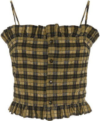 Ganni Ruffled Checked Cotton-Blend Top