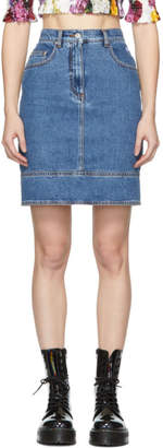 MSGM Blue Denim Multiple Pockets Miniskirt