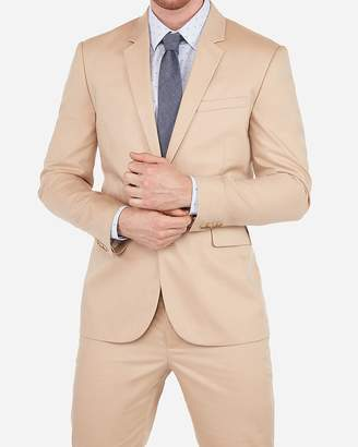 Express Extra Slim Cotton Khaki Oxford Stretch Suit Jacket