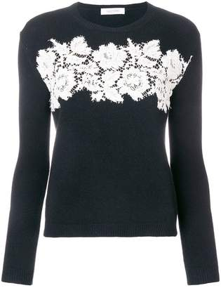 Valentino floral lace embroidered sweater