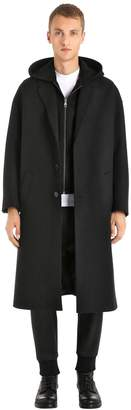 Neil Barrett Wool Cloth Coat W/ Hooded Neoprene Vest