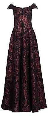 Teri Jon by Rickie Freeman by Rickie Freeman Women's Off-The-Shoulder Printed Dress