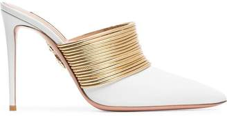 Aquazzura White and Gold Rendezvous 105 Leather High-Heeled Mules