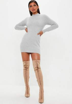 Missguided Gray Fluffy Turtle Neck Sweater Dress