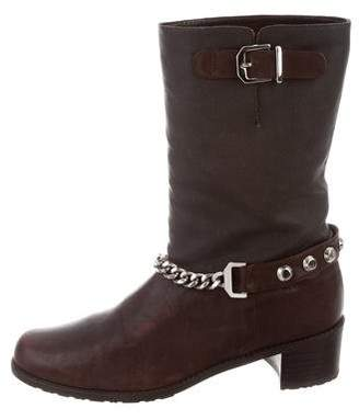 Stuart Weitzman Chain-Link Mid-Calf Boots