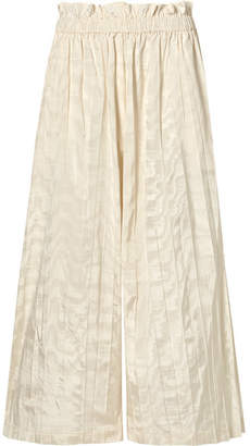 Gucci Pleated Silk-taffeta Wide-leg Pants - Ivory