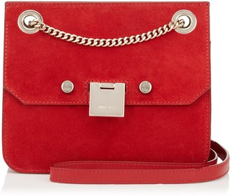 Jimmy Choo REBEL/XB Red Suede Cross Body Bag