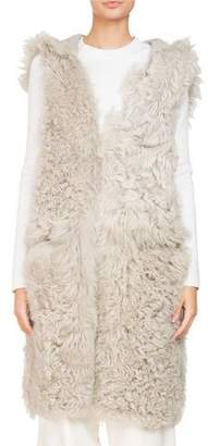 Givenchy Sleeveless Reversible Hooded Shearling Long Vest