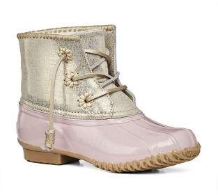 Jack Rogers Chloe Classic Whipstitch Metallic Leather & Rubber Boots