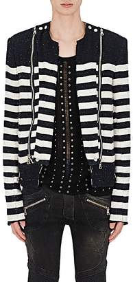 Balmain Men's Striped Cotton-Blend Bouclé Biker Jacket - Navy