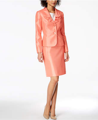 Le Suit Ruffle-Lapel Skirt Suit, Regular & Petite
