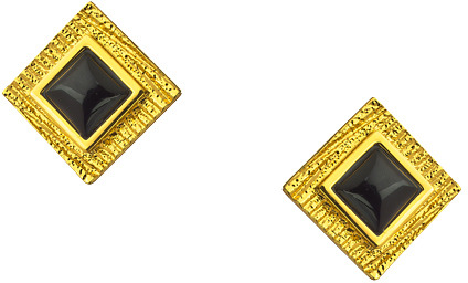 Trina Turk Black And Textured Gold Square Post Earrings
