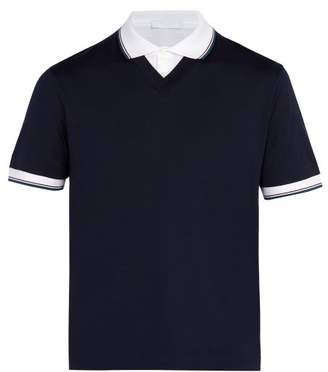 Prada Double Layered Cotton Polo Shirt - Mens - Navy Multi