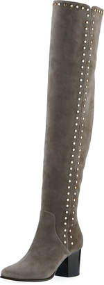 Jimmy Choo Harlem Suede Studded Over-the-Knee Boot