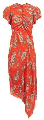 Preen by Thornton Bregazzi Jane Floral Print Plisse Chiffon Dress - Womens - Orange Multi
