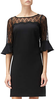 Adrianna Papell Stretch Crepe And Lace Shift Dress, Black