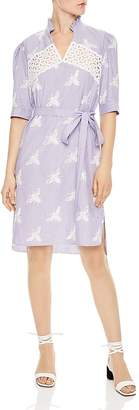 Sandro Soleil Striped Embroidered Bee-Motif Dress