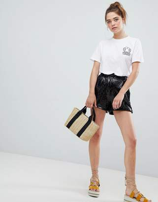 Bershka sequin shorts in black
