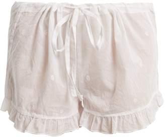 POUR LES FEMMES Embroidered ruffle-hem cotton shorts