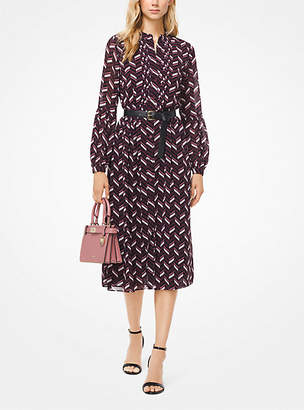 Michael Kors Chevron Georgette Belted Shirtdress