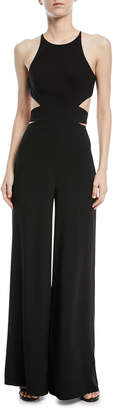 Halston Wide-Leg Side-Cutout Jumpsuit