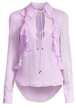 Diane von Furstenberg Women's Everleigh Ruffled Silk Blouse - Lavender - Size XS
