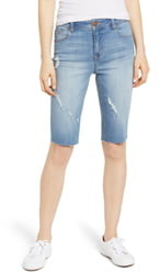 1822 Denim Distressed Denim Bike Shorts